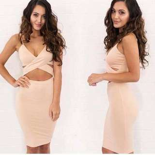 Nude/Beige Mini Bodycon Crossover Dress