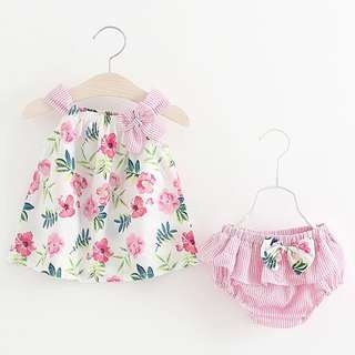 🐰Instock - 2pc floral pink set, baby infant toddler girl children glad cute 123456789