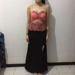 One Set Pink Bustier and Black Long Skirt