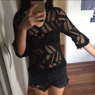 Black with gold shimmer mesh cover up beach top