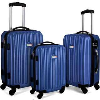 Milano Luxury Shockproof Luggage 3Pc Set Blue