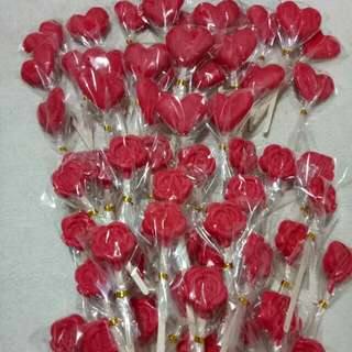 Red Chocolate Lollipops