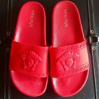 Versace inspired red slides / slippers