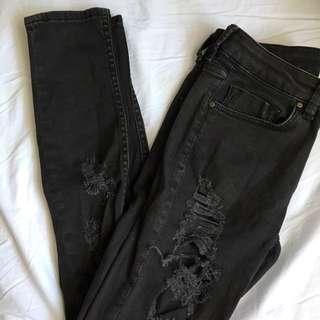 ASOS black ripped skinny (mid-rise)