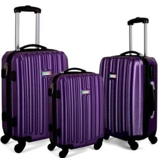 Milano Luxury Shockproof Luggage 3Pc Set Purple