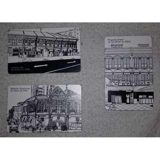 Set of 3 Shophouses EZlink cards (Black & White sketches) by Khairul, Glenn & Jonathan