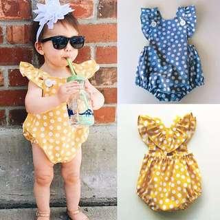 🦁Instock - yellow polkadot romper, baby infant toddler girl children glad cute 123456789
