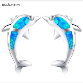 Dolphin Design Gift for Valentine's Day Blue Fire Opal 925 Silver Stud Earrings