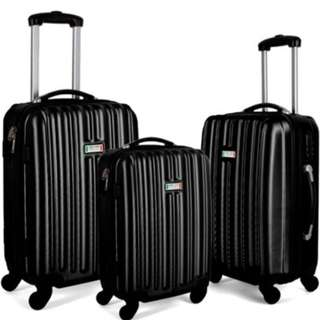 Milano Luxury Shockproof Luggage 3Pc Set Black