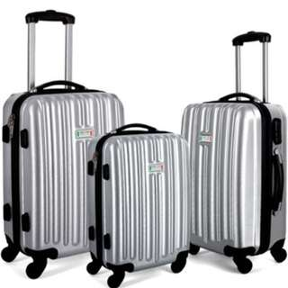 Milano Luxury Shockproof Luggage 3Pc Set Silver