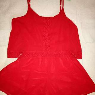 Red romper dress