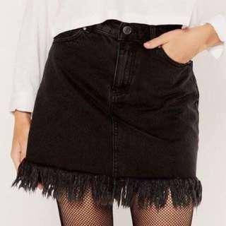 Glassons Black Denim Fringed Skirt