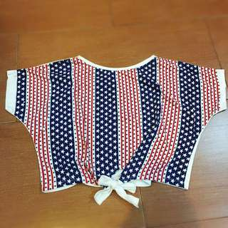 Tied USA Flag Printed Crop Top