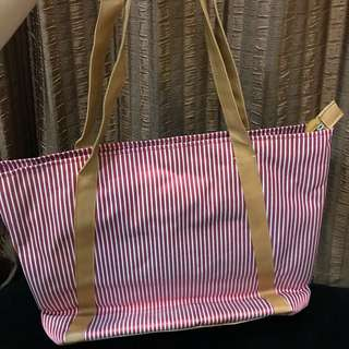 Red white stripe bag