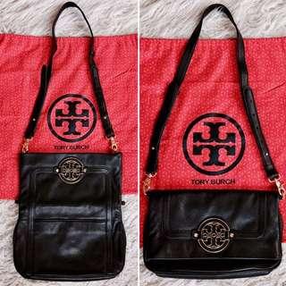 Tory Burch Amanda Fold-Over Messenger Black Leather Cross Body Bag