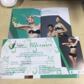 Vine holistic Gift Certificate worth Php 2,400
