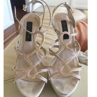 Forever New tan beige stiletto heels with diamanté