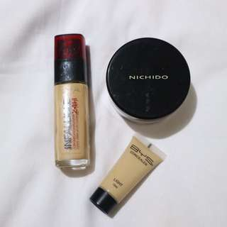 Long-Lasting Makeup Bundle #2 (L'Oreal Infallible Stay Fresh Foundation, BYS Concealer & Nichido Loose Setting Powder)