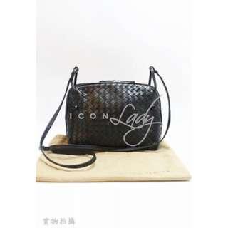 BOTTEGA VENETA 245354 黑色經典小羊皮編織 肩背袋 斜揹袋 手袋