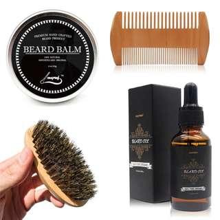 Beard Oil ,Balm ,Brush and Comb Kit for Men-Beard Care