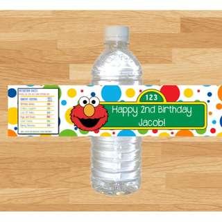 Personalized  Sesame Street Elmo Bottle Water Labels