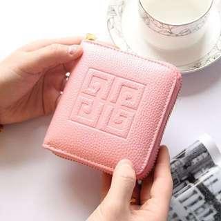 🚚 超美荔枝紋超質感拉鍊夾層包零錢包 可放卡片 黑色一個 粉色三個