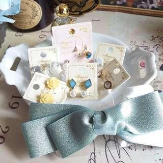 🔮半價耳環福袋 – 日本耳環 一套6對 送蝴蝶結髮夾。・☆ 私人收藏 古董市集 vintage
