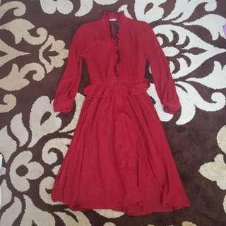 Dress Kondangan Maroon