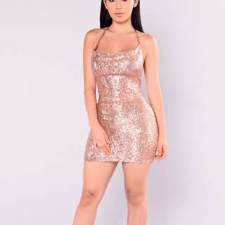 Rose Gold Fashion Nova Sequin Dress