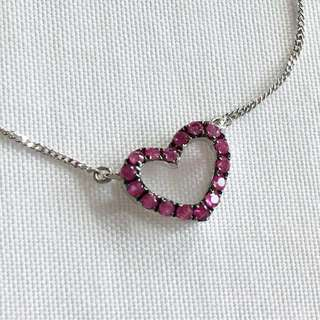 Jewelry. Ruby❤️ Heart 18kWG necklace. R16-0.16ct. 42cm. Good for ❤️Valentine gift. 🔥Slashed Price🔥