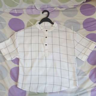 BN white checkered blouse