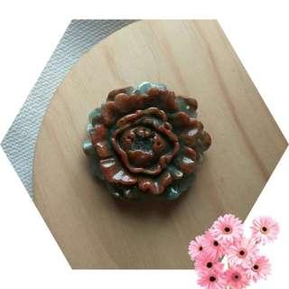 緬甸玉保A 無燒紅翡 牡丹花型墬子