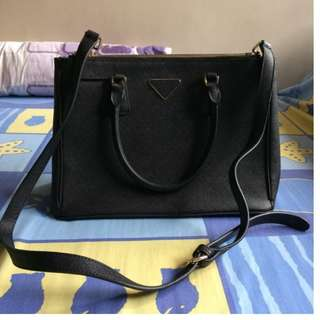 Faux Black Leather Shoulder Bag (with detachable straps)