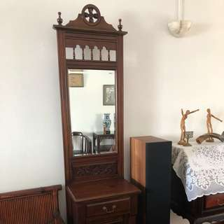 Solid mahogany wood dressing table / cabinet
