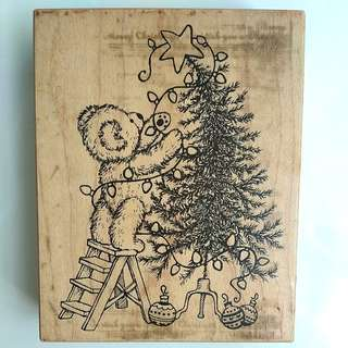 Christmas Wooden Rubber Stamp