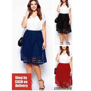 White Top checkered lace skirt terno