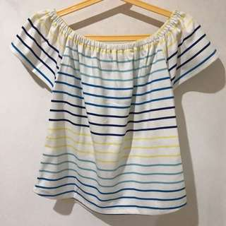 Yellow & Blue striped off shoulder