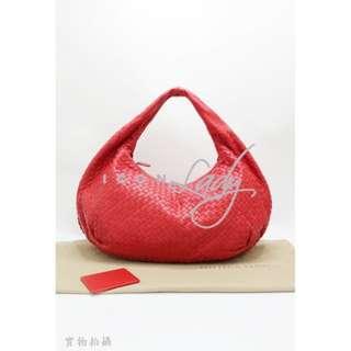 BOTTEGA VENETA 232500 Belly Veneta 鮮紅色經典小羊皮編織彎月包 手袋 (大號)