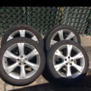 1 set original Subaru Japan 17 inch rims Pcd 100 with Free 225/45/17 tyres