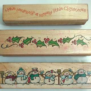 Christmas Wooden Rubber Stamps