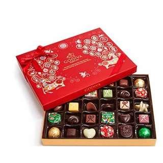 Godiva限定巧克力紅色緞帶禮盒/32顆