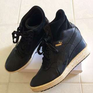 *Best Deal* Puma Black Leather Platform Dance Sport Sneakers Shoes Advantage Wedge