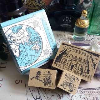 🔮木印章 – 埃及名勝 法老王 馬車 阿布辛貝神殿。・☆ 私人收藏 古董市集 vintage