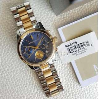 Michael Kors Runway Chronograph Silver Gold Navy Blue Dial 38mm, MK6165