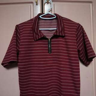 Maroon striped Boxy / cropped top