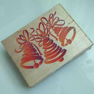 Ribbon Bells Wooden Rubber Stamp