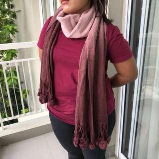 Winter korean style scarf Pom Pom warna gradasi