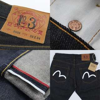 EVISU 2008 Straight Fit Chain Stitch Denim Selvedge Jeans