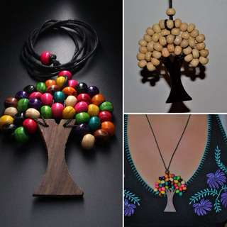 Wooden Tree of Life Necklace . Free Postage