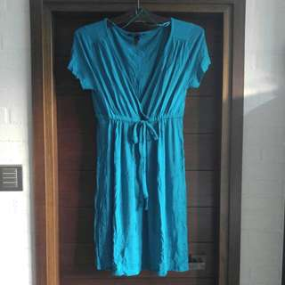 Teal wrap day dress